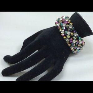 Jewelry - Costume Bracelet w/ iridescent beads & rhinestones